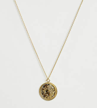 Asos DESIGN gold plated sterling silver necklace with vintage style coin charm