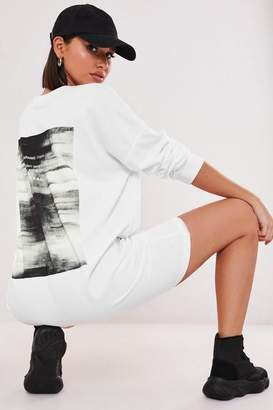 Missguided Petite White Graphic Print Back Sweater Dress