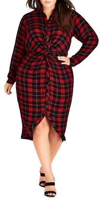 City Chic Plus Twist-Front Plaid Shirt Dress