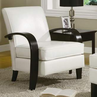 Roundhill Furniture Roundhill Wonda Bonded Leather Accent Chair with Wood Arms, Multiple Colors Available