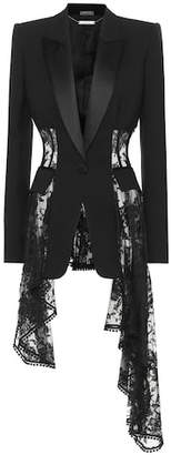Alexander McQueen Lace trim wool and silk-blend jacket