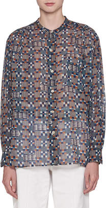 Etoile Isabel Marant Nahla Button-Front Long-Sleeve Voile Printed Blouse