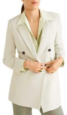 MANGO Claudi Double-Breasted Structured Blazer