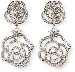 Jose & Maria Barrera Crystal Flower Double-Drop Clip-On Earrings
