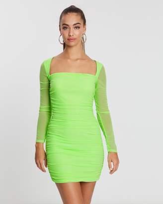 Missguided Square Neck Mesh Bodycon Mini Dress