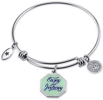 "Unwritten Enjoy the Journey"" Enamel Charm Bangle Bracelet in Stainless Steel"
