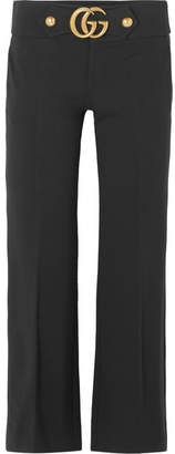 Gucci Embellished Crepe Flared Pants - Black