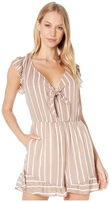 BCBGeneration Knot Front Ruffle Romper TFR9242813