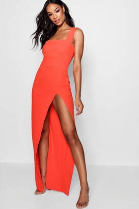 boohoo Tall Square Neck Side Split Maxi Dress