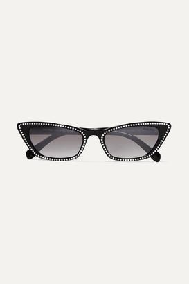 Miu Miu Cat-eye Studded Acetate Sunglasses - Black