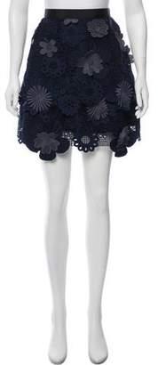 Self-Portrait Lace Tiered Mini Skirt