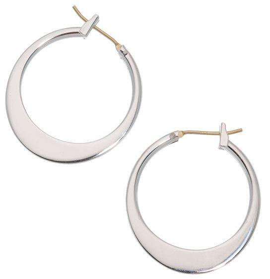 Napier® Silver-Tone Graduated Flattened Hoop Earrings