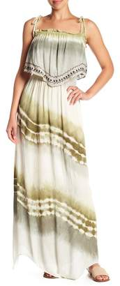 Green Dragon Embroidered Popover Maxi Dress