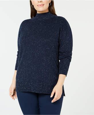 Karen Scott Plus Size Textured Mock Turtleneck Sweater