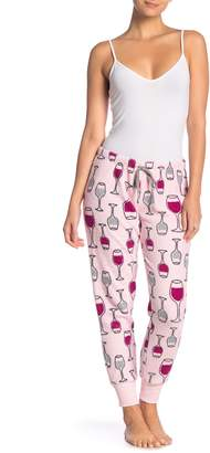 Couture PJ Wine Glass Print Plush Pajama Pants