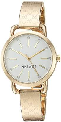 Nine West Women's NW/2102SVGB Crystal Accented -Tone Bangle Watch