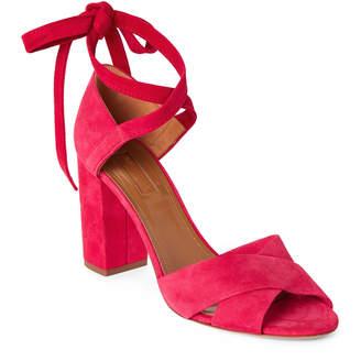 Aquazzura Paradise Pink Tarzan Suede Block Heel Sandals