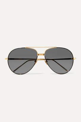 Linda Farrow Aviator-style Gold-tone And Acetate Sunglasses - Black