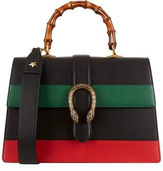 Gucci Large Stripe Dionysus Bamboo Top Handle Bag