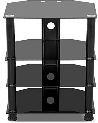 Yaheetech 4 Tier Black Glass Component Media Stand Audio Video Rack with Cable Management