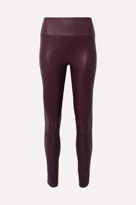 Sprwmn Cropped Leather Leggings - Burgundy