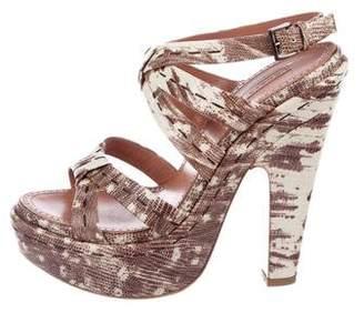Alaia Embossed Platform Sandals