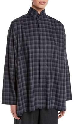 eskandar Plaid Two-Collar Button-Front Cotton Blouse