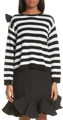 Valentino Bow Detail Stripe Cashmere Sweater