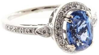 18K White Gold with 2.52ct Oval Ceylon Sapphire & Diamond Ring Size 6.5