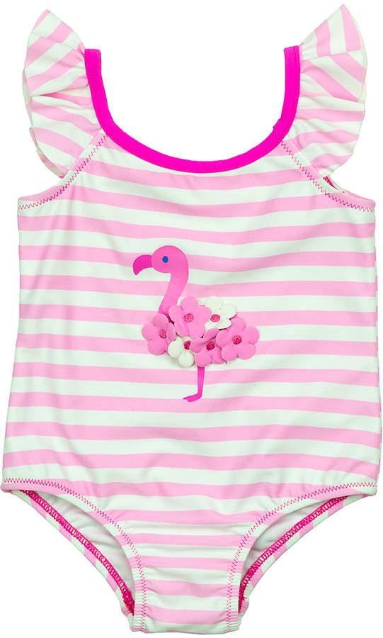 Pink Stripe Flamingo One-Piece - Infant