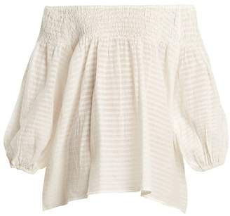 Mes Demoiselles Adriatic Off The Shoulder Striped Top - Womens - Cream