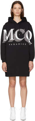 McQ Black Logo Oversized Hoodie Dress