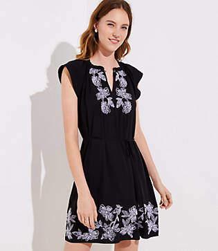 LOFT Petite Floral Embroidered Split Neck Dress