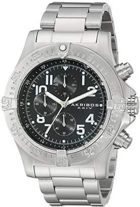 Akribos XXIV Men's AK711SSB Chronograph Quartz Movement Watch with Black Dial and Stainless Steel Bracelet