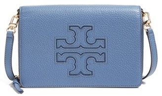 Women's Tory Burch 'Harper' Pebbled Leather Wallet Crossbody Bag - Blue $295 thestylecure.com