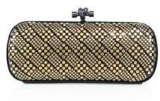 Bottega Veneta Small Knot Studded Snakeskin Clutch