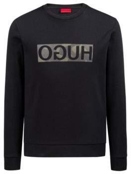 HUGO Boss Sweatshirt in pure cotton camouflage-print reverse logo L Black
