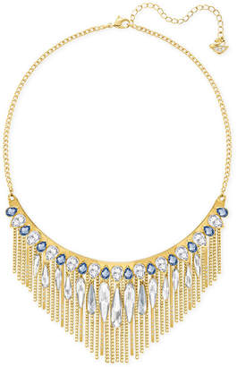 Swarovski Gold-Tone Blue & Clear Crystal Fringed Necklace