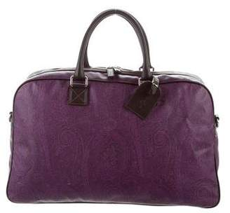 Etro Leather-Trimmed Paisley Weekender Bag