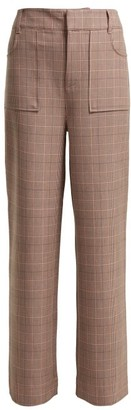Ganni Hewitt Checked Trousers - Womens - Pink Multi