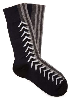 Burberry Graphic Intarsia Cotton Blend Socks - Womens - Navy Multi