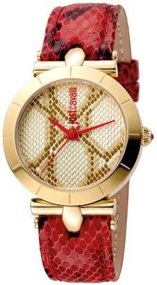 Just Cavalli Women's Watches Women's Womens Leather & Champagne Dial Watch, 34mm