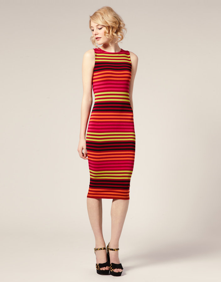 ASOS Variegated Stripe Body-Conscious Midi Dress