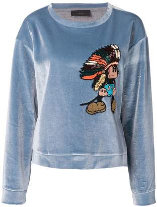 Lédition beaded Mickey velvet sweatshirt