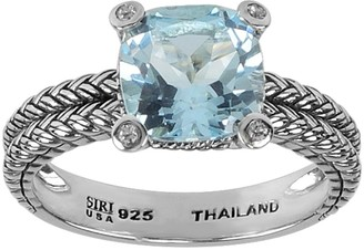 Sterling 2.40 ct Blue Topaz and White Topaz Accent Ring