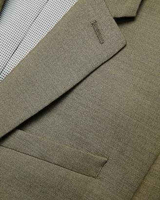 Express Extra Slim Olive Green Wool-Linen Blend Suit Jacket