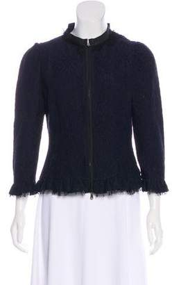 RED Valentino Lace-Accented Zip-Up Jacket
