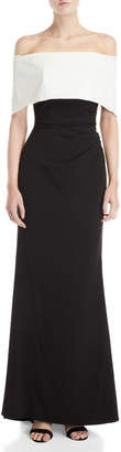 Vince Camuto Off-the-Shoulder Color Block Gown