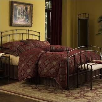 Leggett & Platt Fenton Complete Metal Bed and Steel Support Frame with Gentle Curves, Black Walnut Finish, Twin