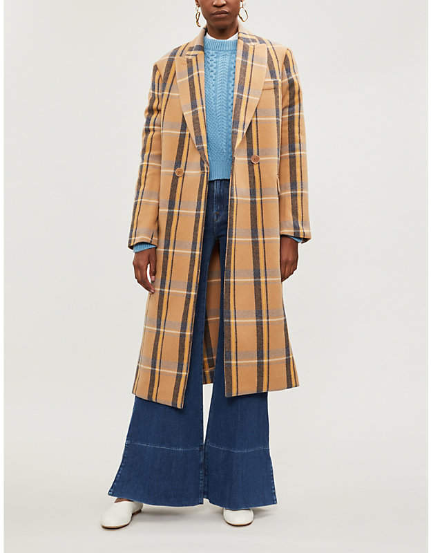 Katherine double-breasted checked wool coat